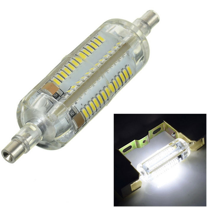 Marsing R7S 7W 700lm 104-SMD 3014 LED Cool White Light BulbForm  ColorWhite + Yellow + Multi-ColoredColor BINCold WhiteMaterialSilicone + aluminumQuantity1 DX.PCM.Model.AttributeModel.UnitPower7WRated VoltageAC 220-240 DX.PCM.Model.AttributeModel.UnitConnector TypeOthers,R7SChip BrandOthers,N/AEmitter TypeOthers,3014 SMDTotal Emitters104Actual Lumens600-700 DX.PCM.Model.AttributeModel.UnitColor Temperature12000K,Others,6000-6500KDimmableNoBeam Angle360 DX.PCM.Model.AttributeModel.UnitCertificationCE, RoHsPacking List1 x LED Bulb<br>
