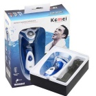 KEMEI KM-5880 Men's Electric Rechargeable Washable Three Head Rotary Beard Mustache Shaver - Blue