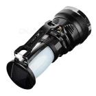 Solar Powered 3-Mode Outdoor Camping LED Flashlight Lamp Lantern w/ Handle - Black + White
