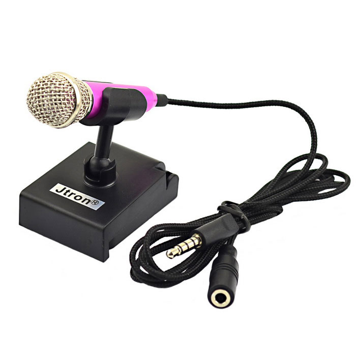 Jtron 3.5mm Stylish Mini Mobile Stereo Microphone for Tablet PC / Cellphone - Black + Deep Pink for sale in Bitcoin, Litecoin, Ethereum, Bitcoin Cash with the best price and Free Shipping on Gipsybee.com