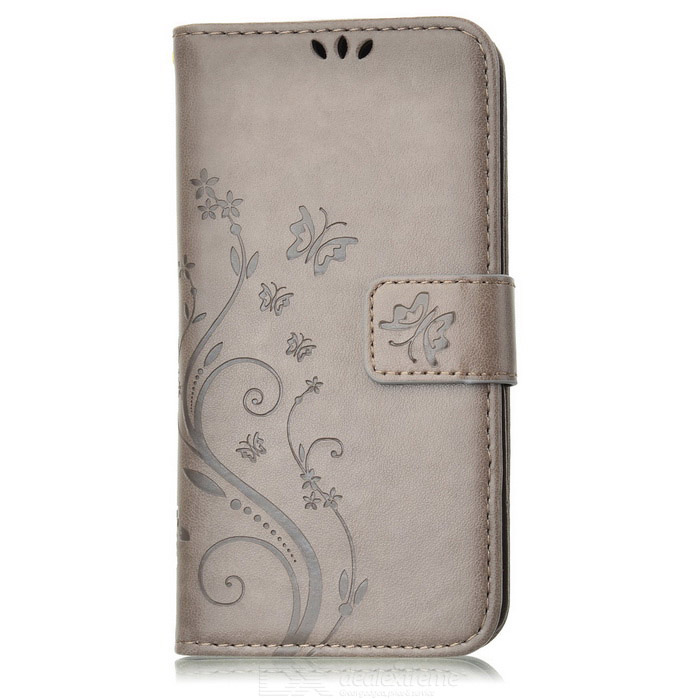 Butterfly Pattern PU+TPU Wallet Case for Samsung Galaxy S6 - Grey