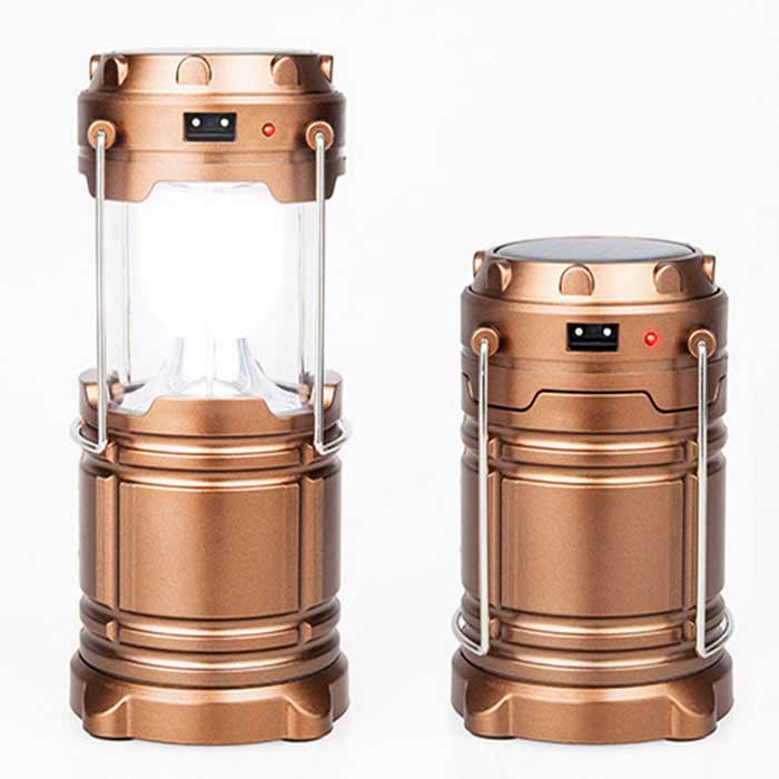 Portable Stretchable Outdoor Camping Solar Powered LED Emergency Lantern Lamp - Bronze (3 x AA)