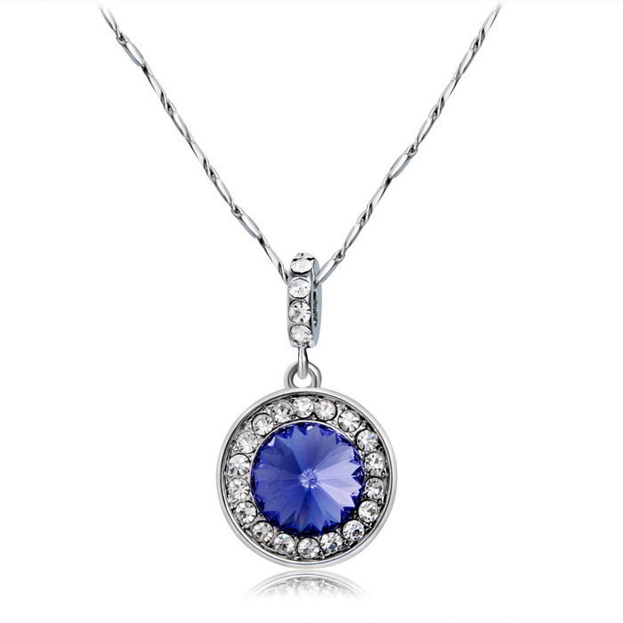 Xinguang kvinner Enkel Round Edge Diamond Necklace - Silver + Purple