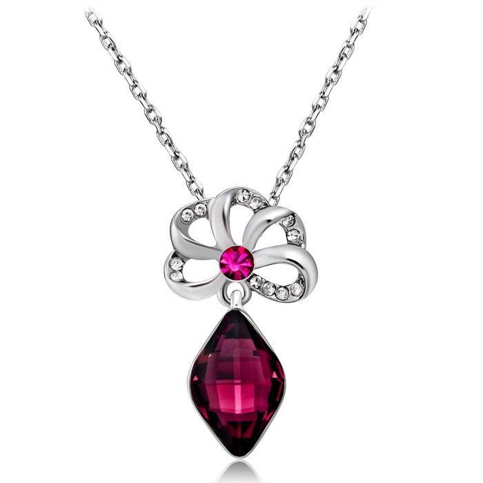 Xinguang Women's Elegant Purple Crystal Necklace - Silver + Purple