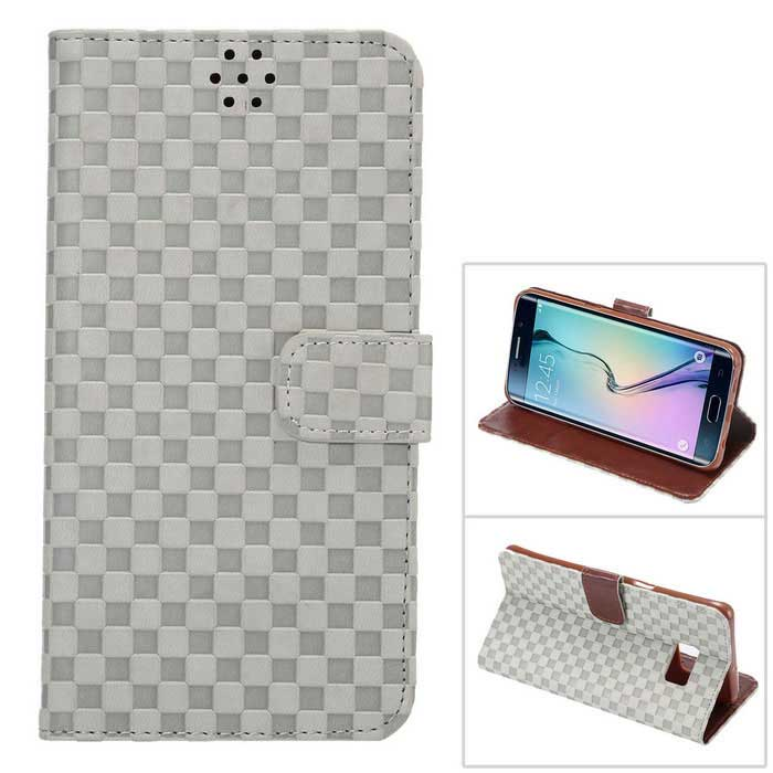 Gird Pattern PU+TPU Wallet Case for Samsung Galaxy S6 Edge Plus - GreyLeather Cases<br>Form ColorGreyModelN/AMaterialPU+TPUQuantity1 DX.PCM.Model.AttributeModel.UnitShade Of ColorGrayCompatible ModelsSamsung Galaxy S6 Edge PlusPacking List1 x MO.MAT case<br>