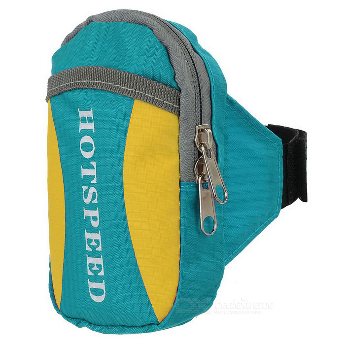 HOTSPEED Outdoor Cycling Running Water-Resistant Armband Case Pouch Arm Bag - Blue + YellowBike Bags<br>Form ColorBlue + Yellow + Multi-ColoredQuantity1 DX.PCM.Model.AttributeModel.UnitMaterialWater-resistant oxford clothTypeOthers,Arm bagCapacity1.5 DX.PCM.Model.AttributeModel.UnitWaterproofYesGenderUnisexBest UseCycling,Road Cycling,Bike commuting &amp; touringPacking List1 x Arm bag<br>