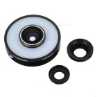 Clip-on Wide Angle + Macro + Fish Eye Camera Lens Kit w/  3-Mode 12-LED Fill Light - Black + White