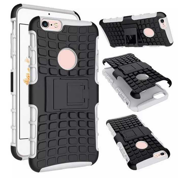 sports shoes 3da7f e8f68 Protective ABS Back Cover Armor Case w/ Stand for IPHONE 6S plus - White +  Black