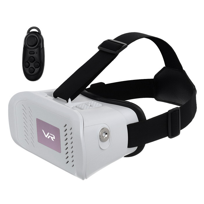 "Virtual Reality 3D Video Glasses w/ BT Mouse for 3.5~6.0"" Phone -White"