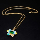 Xinguang Women's Classic Water Drop Oil Painting Petals Style Crystal Necklace - Gold
