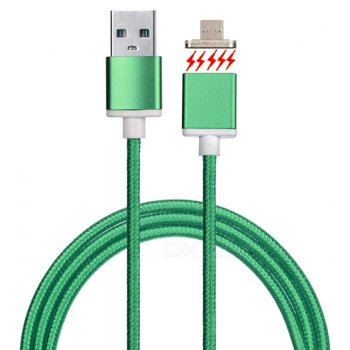 Magnetic Detachable Transformable Micro USB Braided Charging Data Cable for Android Phone - GreenCables<br>Form ColorGreenMaterialAluminum alloy + nylon braidedQuantity1 DX.PCM.Model.AttributeModel.UnitCompatible ModelsUniversal, all kinds of cellphones with Micro USB interfaceCable Length100 DX.PCM.Model.AttributeModel.UnitConnectorMicro USBOther FeaturesSupports charging and data transmissionPacking List1 x Cable<br>