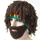 Vogue Wig Beard Hobo Hat Huolimaton Caveman Käsintehdyt pipo - Brown