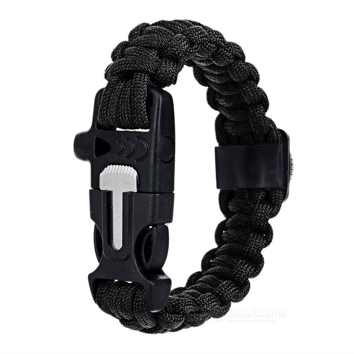 Outdoor Survival Camping Parachute Cord Armband w / Flintstone / Whistle / Compass / Scraper - Svart