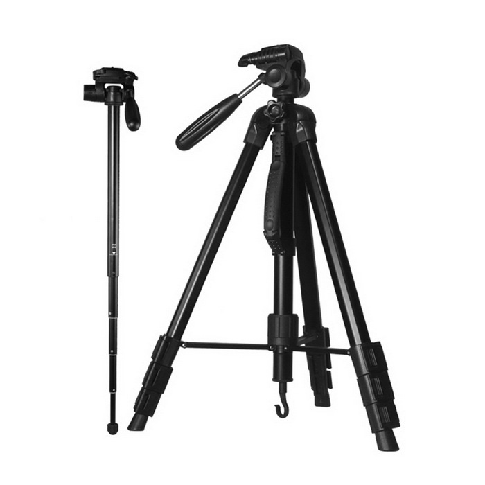 DG1765 Tripod Ball Head Kit Aluminum Digital Camera Tripod for Canon Nikon Sony Pentax DSLR CameraTripods and Holders<br>Form ColorBlackModelDG1765MaterialAluminium alloyQuantity1 DX.PCM.Model.AttributeModel.UnitTypeTripodRetractableYesRing Diameter1/4Min.Height54 DX.PCM.Model.AttributeModel.UnitMax.Height176.5 DX.PCM.Model.AttributeModel.UnitMax.Load4 DX.PCM.Model.AttributeModel.UnitSection Number4Other FeaturesMade of high-density Aluminum tube, durable and stable.<br>Built-in spirit level, three adjustment knobs design damping effect ball head, realizing any angle shooting, precise and efficient; Quick release plate for easy connecting to camera or camcorder; Leg angle adjustment lock ensures single adjustment of each leg; 4-section column leg with quick release locks, giving a more convenient leg handling, satisfying your wanted height when shooting; Equip with steel rocker, you can adjust the ball head during the shooting<br>Design a button to lift the axis, more convenient to use.<br>Non-slip rubber feet; A portable pocket makes it easy to carry<br>Best choice for SLR camera in your travel.Packing List1 x Tripod 1 x Manual (English &amp; Chinese)1 x Carrying bag<br>