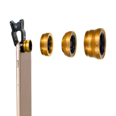 OldShark® 0.67X Universal Clip-on 3 in 1 Fish Eye Lens+Wide Angle+Micro Lens Kit for IPHONE & More