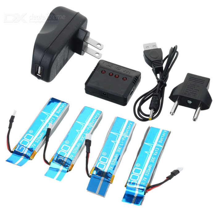 X4A-A08 4-520mAh Batteries + 1-to-4 Charger + TOL Converter + Charger + Data Cable Set