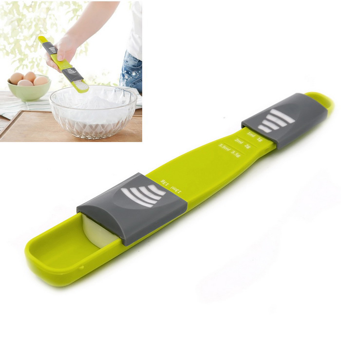 Adjustable Scale Quantitative Spoon Scoop Milk Spoon Salt Spoon - Grass Green
