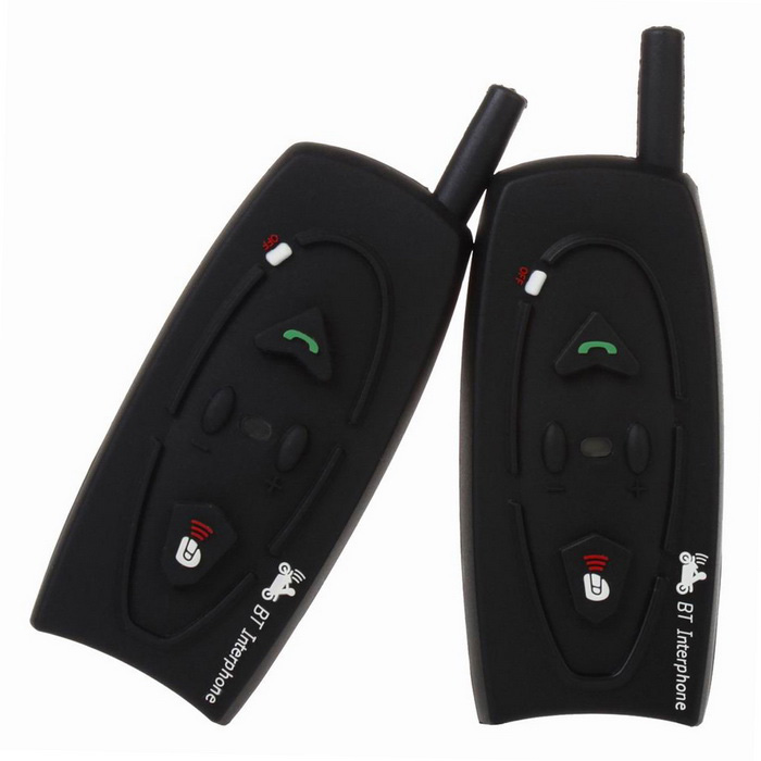 V2-500-2-US 2 PCS Hjelm Intercom Headsets MP3-tilkobling Bluetooth Motorcycle Helmet Interphone