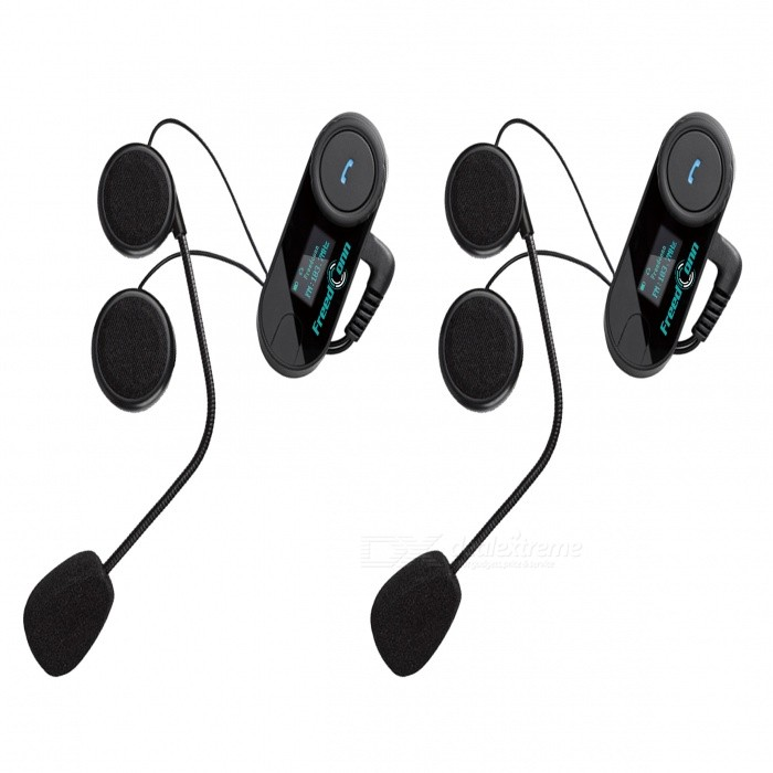 TCOM-SC 2*800m Bluetooth Motorbike Intercom Headset w/ LCD (EU Plug)Motorcycle Interphone<br>Form ColorBlack + BlueModelTCOM-SCQuantity1 DX.PCM.Model.AttributeModel.UnitMaterialABSApplicationOthers,Left side of helmetBluetooth VersionBluetooth V2.1Transmit Distance10 DX.PCM.Model.AttributeModel.UnitOutput Frequency Range85-108 DX.PCM.Model.AttributeModel.UnitIntercom FunctionYesIntercom Effective Distance800 DX.PCM.Model.AttributeModel.UnitSupport Intercom RidersSupports two-way wireless between 3 ridersTalk Time7 DX.PCM.Model.AttributeModel.UnitStandby Time300 DX.PCM.Model.AttributeModel.UnitSpeaker Power0.25 DX.PCM.Model.AttributeModel.UnitPower Supply100-240VRated Working Current500 DX.PCM.Model.AttributeModel.UnitBuilt-in Battery Capacity 400 DX.PCM.Model.AttributeModel.UnitWaterproof FunctionYesInterface1 x mini USBInstallation MethodSelects the right position on the left side of helmet, adjust the clip until you find the best location for your helmet; Install the Bluetooth interphone and microphone onto the buckle and make sure they are firmly mounted.Packing List2 x Bluetooth receivers2 x Loudspeaker &amp; microphone headset (60+/-2cm-cable)2 x Mini USB data cable (99+/2cm)8 x Headset velcro bands                                                                                                                             2 x Screwdrivers2 x Interphone clips2 x Interphone velcro pads2 x EU plug power adapter (100~240V) 1 x English user manual<br>