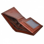 Men's Fashionable Split Leather Short Wallet - Coffee