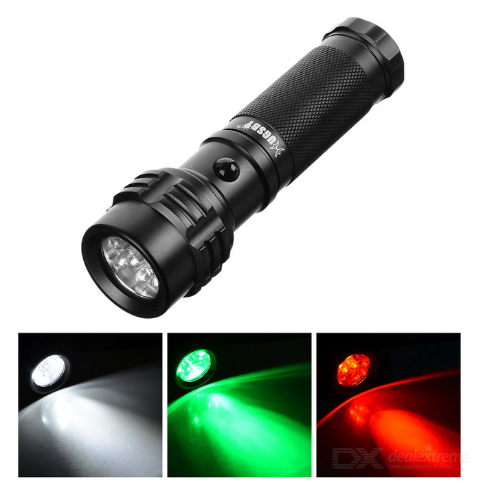 HUGSBY 5mm LED 15LM 3-Mode luce bianca + Verde + Rosso torcia elettrica - nero + bianco (3 * AAA)