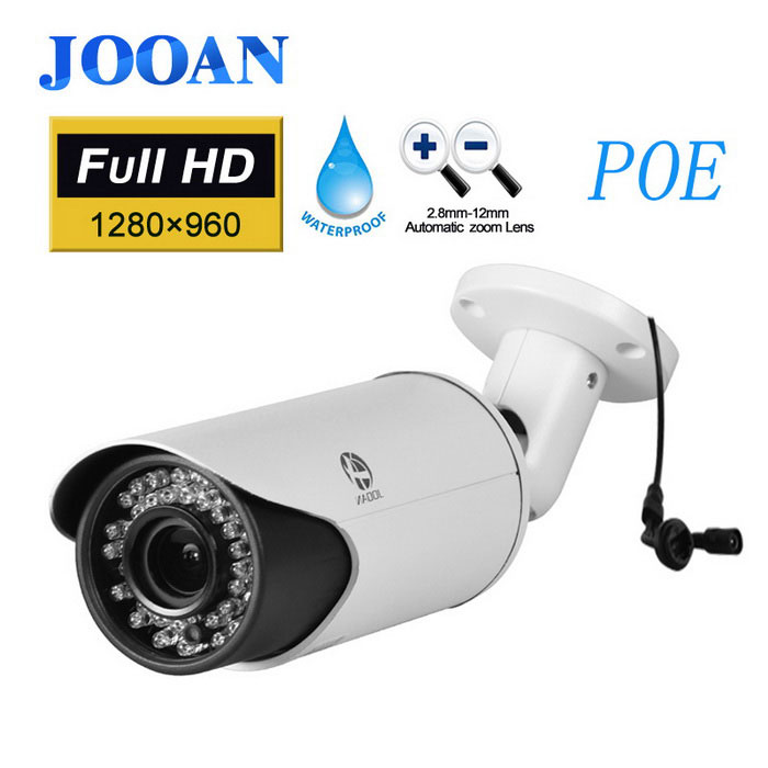 POE Security Camera, JOOAN 1080P IP Camera Outdoor Network Cameras Bullet Type for Home Security black
