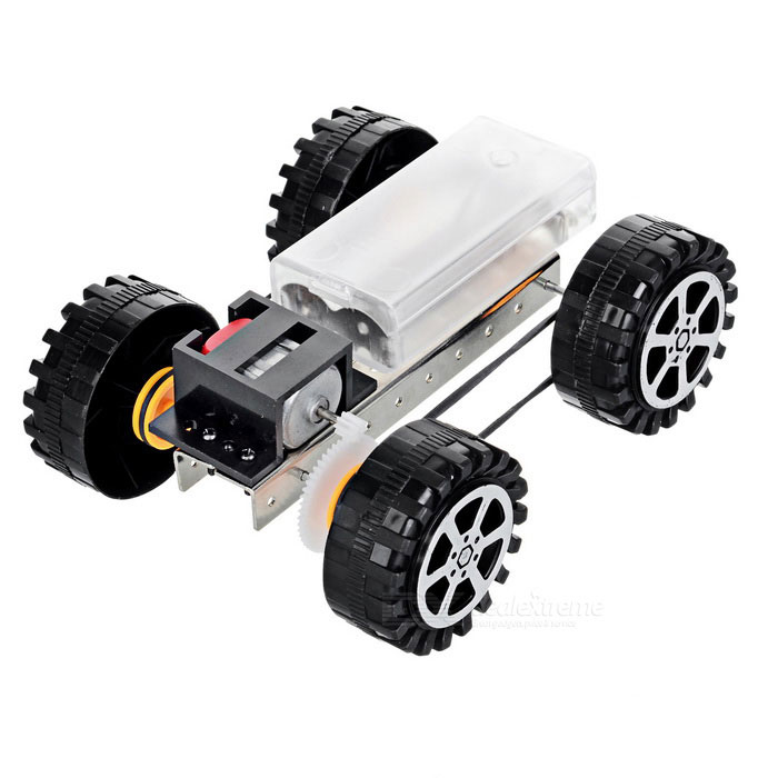 DIY Educational Assembled Gear-Driven Four-Wheel Drive Car Toy - Black (2*AA)