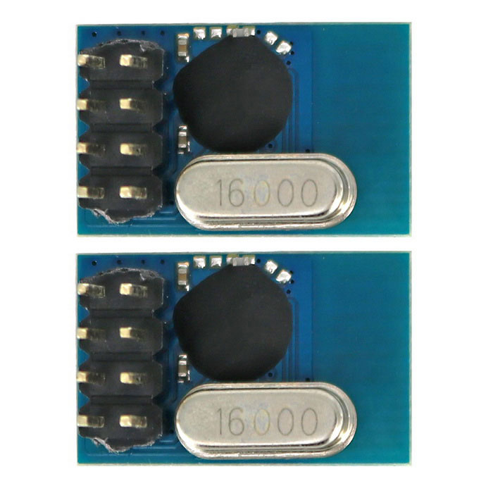 2.4G SE8R01 Wireless Transceiver Module Similar with NRF24L01 for DIY - Black + Blue (2PCS)Transmitters &amp; Receivers Module<br>Form  ColorBlue + BlackModelN/AQuantity1 DX.PCM.Model.AttributeModel.UnitMaterialPCB + Alloy + PlasticFrequency2400-2525MHzWorking Voltage   1.8V-3.6 DX.PCM.Model.AttributeModel.UnitEnglish Manual / SpecYesDownload Link   http://pan.baidu.com/s/1pJUAmKFPacking List2 x Modules<br>
