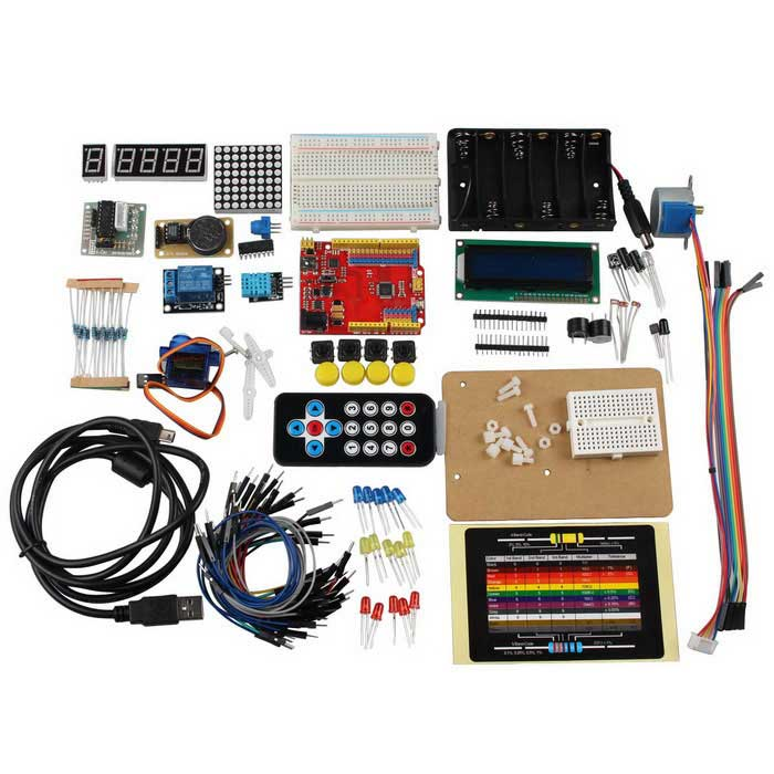 UNO Learning Kit for Arduino With IR 1602LCD Relay Temperature Humidity Clock Module Resistor Card