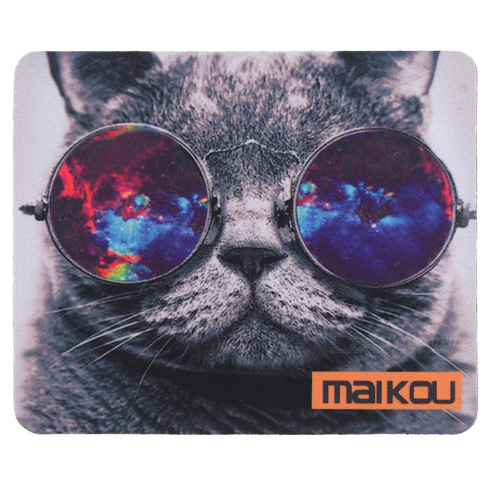 MAIKOU 21.8*18*0.2cm Lovely Cat Pattern Anti-Slip Non-Slip Mouse Pad Mat - Grey + Black