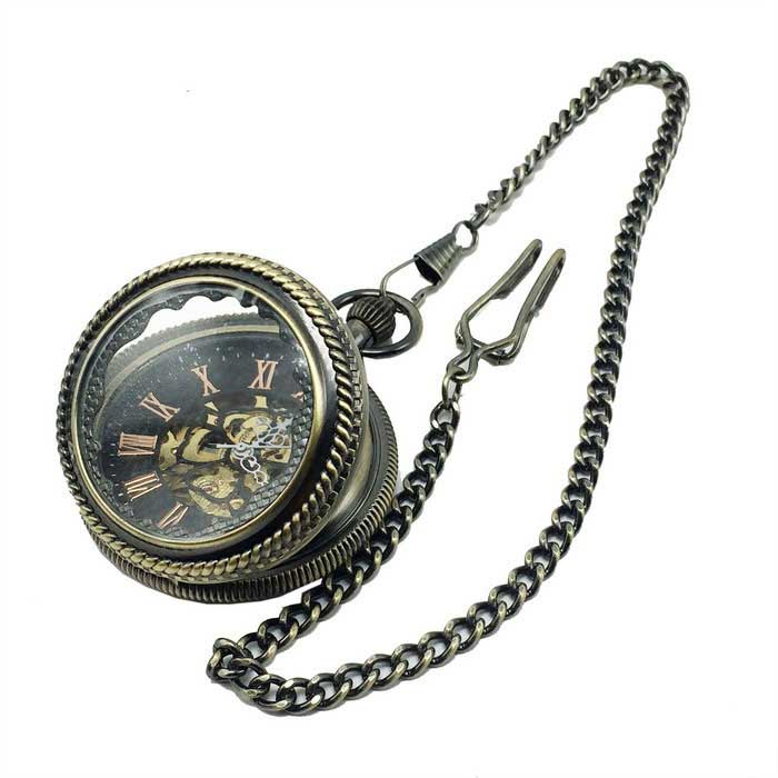Mens Retro Hollow Analog Mechanical Zinc Alloy Pocket Watch - BronzePocket Watches<br>Form ColorAntique BrassQuantity1 DX.PCM.Model.AttributeModel.UnitShade Of ColorBrownCasing MaterialZinc alloyWristband MaterialZinc alloyGenderMenSuitable forAdultsStylePocket WatchTypeCasual watchesChain Length37 DX.PCM.Model.AttributeModel.UnitDisplayAnalogMovementMechanicalDisplay Format12 hour formatWater ResistantFor daily wear. Suitable for everyday use. Wearable while water is being splashed but not under any pressure.Wristband Length37 DX.PCM.Model.AttributeModel.UnitDial Diameter5 DX.PCM.Model.AttributeModel.UnitDial Thickness1.5 DX.PCM.Model.AttributeModel.UnitBand Width0.2 DX.PCM.Model.AttributeModel.UnitBatteryNoPacking List1 x Pocket watch<br>