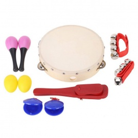Shaking-Jingle-Bell-Castanet-Maraca-Tambourine-Percussion-Set-Musical-Toy-Gift-for-Baby-Wood-Color