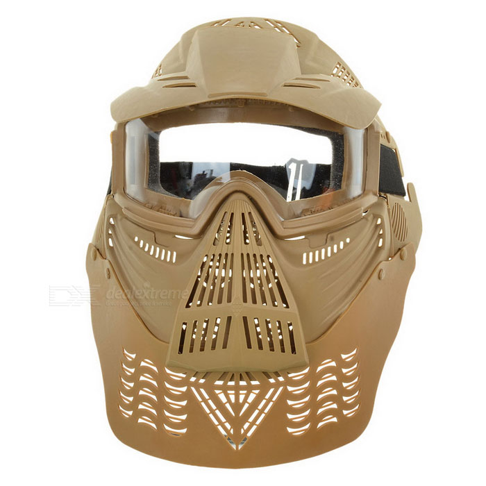 Outdoor CS War Game Full Face Protection Lens Mask Headwear Headgear - TanMasks<br>Form  ColorTanQuantity1 DX.PCM.Model.AttributeModel.UnitMaterialAnti-explosion plasticHead Circumference56~64 DX.PCM.Model.AttributeModel.UnitBand Length36 DX.PCM.Model.AttributeModel.UnitCertificationCEPacking List1 x Face mask<br>