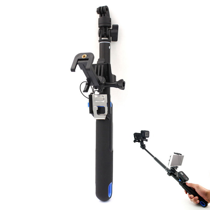 Monopod Phone Holder Set w/ Remote Control for Gopro Hero 4 / 3+ / 3 / Session - Black + BlueMounting Accessories<br>Form  ColorBlack + Blue + Multi-ColoredQuantity1 DX.PCM.Model.AttributeModel.UnitMaterialPlasticShade Of ColorBlackCompatible ModelsGoPro Hero 3,GoPro Hero 3+,GoPro Hero 4RetractableNoMax.Height100 DX.PCM.Model.AttributeModel.UnitMin.Height36 DX.PCM.Model.AttributeModel.UnitMax.Load1000 DX.PCM.Model.AttributeModel.UnitBand Length24 DX.PCM.Model.AttributeModel.UnitPacking List1 x Monopod1 x Hand Strap (24cm)3 x Long Screws1 x Mobile Phone Holder2 x Adapters1 x Button<br>