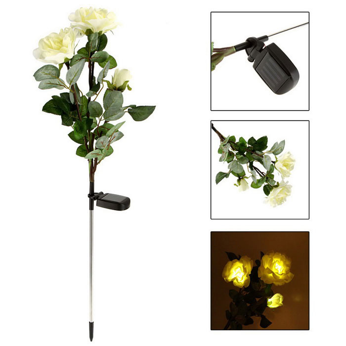 Power Saving Full Solar IP44 Waterproof 3 Roses Style LED Lamps Landscape Lights - Green + White