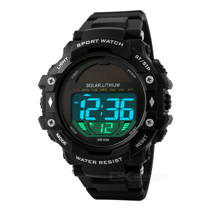 SKMEI 1129 50m Waterproof PU Band Solar Power Outdoor Sports WatchSport Watches<br>Form ColorBlackModel1129Quantity1 DX.PCM.Model.AttributeModel.UnitShade Of ColorBlackCasing MaterialPCWristband MaterialPUSuitable forAdultsGenderMenStyleWrist WatchTypeSports watchesDisplayDigitalBacklightBlueMovementSolarDisplay Format12/24 hour time formatWater ResistantWater Resistant 5 ATM or 50 m. Suitable for swimming, white water rafting, non-snorkeling water related work, and fishing.Dial Diameter5 DX.PCM.Model.AttributeModel.UnitDial Thickness1.6 DX.PCM.Model.AttributeModel.UnitWristband Length27 DX.PCM.Model.AttributeModel.UnitBand Width2.3 DX.PCM.Model.AttributeModel.UnitBattery1 x CR2025Packing List1 x Watch1 x Chinese, English instruction<br>