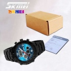 SKMEI 1030 Metal hihna Dual Display Outdoor Sports Watch - Sininen + musta (1 x CR2025 / 1 x SR626SW)