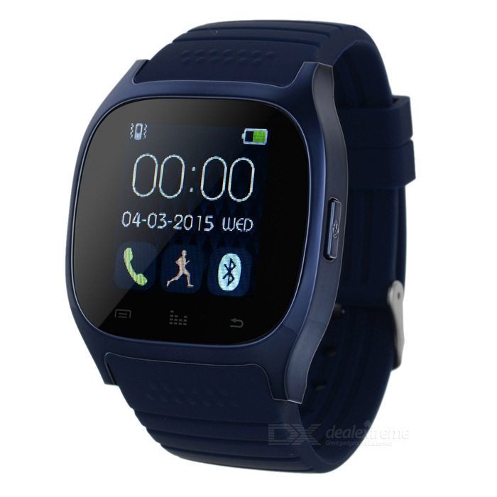 Smart Bluetooth Watch Smartwatch for Android IOS Phone - BlueSmart Watches<br>Form  ColorBlueQuantity1 DX.PCM.Model.AttributeModel.UnitMaterialSteel + SiliconeShade Of ColorBlueCPU ProcessorMTK2501Bluetooth VersionBluetooth V4.0Touch Screen TypeYesOperating SystemNoCompatible OSAndroid &amp; IOSWater-proofOthers,IP57Battery Capacity230 DX.PCM.Model.AttributeModel.UnitBattery TypeLi-ion batteryStandby Time180 DX.PCM.Model.AttributeModel.UnitOther FeaturesScreen Size: 1.4 inch; Storage: RAM 32MB, ROM 24MBScreen SizeN/A DX.PCM.Model.AttributeModel.UnitScreen ResolutionN/ALanguageN/AWristband Length27 DX.PCM.Model.AttributeModel.UnitBattery ModeReplacementPacking List1 x Smart watch1 x USB charging cable (55cm)1 x Chinese / English user manual<br>