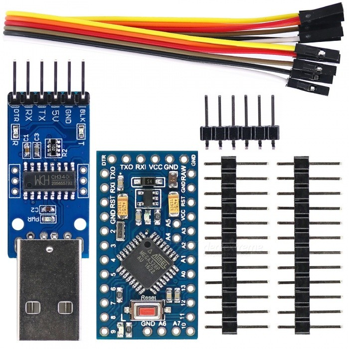 Improved Pro Mini ATmega328P 5V / 16MHz Board + CH340G USB to TTL Programmer Module for Arduino