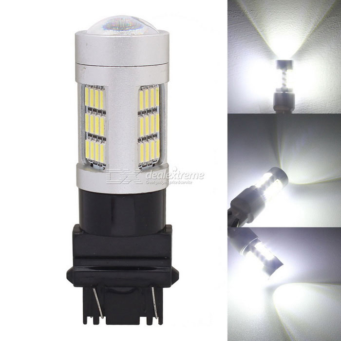 MZ T25 P27/7W 3157 8W Car LED Brake Light / Driving Lamp / Parking Light White 42-4014 SMD 420lmFog Lights<br>Color Temperature6500K - T25 (2-Wire)ModelN/AQuantity1 DX.PCM.Model.AttributeModel.UnitMaterialPCBForm  ColorSilverCompatible Car ModelUniversalRate Voltage12Power8WColor BINWhiteTheoretical Lumens480 DX.PCM.Model.AttributeModel.UnitActual Lumens420 DX.PCM.Model.AttributeModel.UnitConnector TypeOthers,T25 P27/7W 3157Emitter TypeLEDChip BrandOthers,N/AChip Type4014 SMD LEDTotal EmittersOthers,42Color Temperature6500 DX.PCM.Model.AttributeModel.UnitWaterproof FunctionNoApplicationBrake light,Foglight,Tail light,Daytime running lightPacking List1 x LED Light<br>