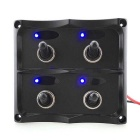 Marine Electric ON-OFF 4-Group Blue LED Toggle Switch Panel for Boat Rvs Car - Black