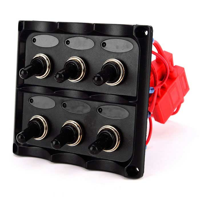 Marine-Electric-ON-OFF-6-Group-Blue-LED-Toggle-Switch-Panel-6-Way-Switch-Panel