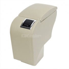 CARKING-Faux-Leather-Armrest-Center-Console-Storage-Box-for-Ford-Focus-Beige
