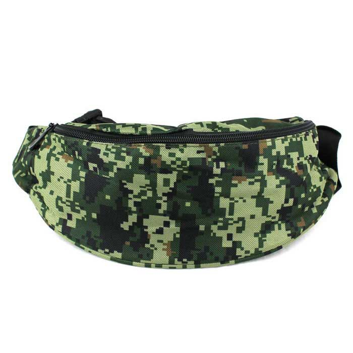 Buy 600D Water-Resistant Camouflage Running Waist Bag Package - Green with Litecoins with Free Shipping on Gipsybee.com