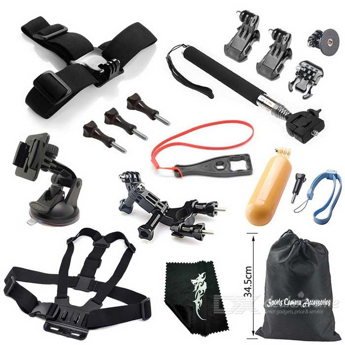 16-in-1 Outdoor Sports Camera Accessories Kit for GoPro Hero 1, 2, 3, 3+, 4, 4 Session - Black