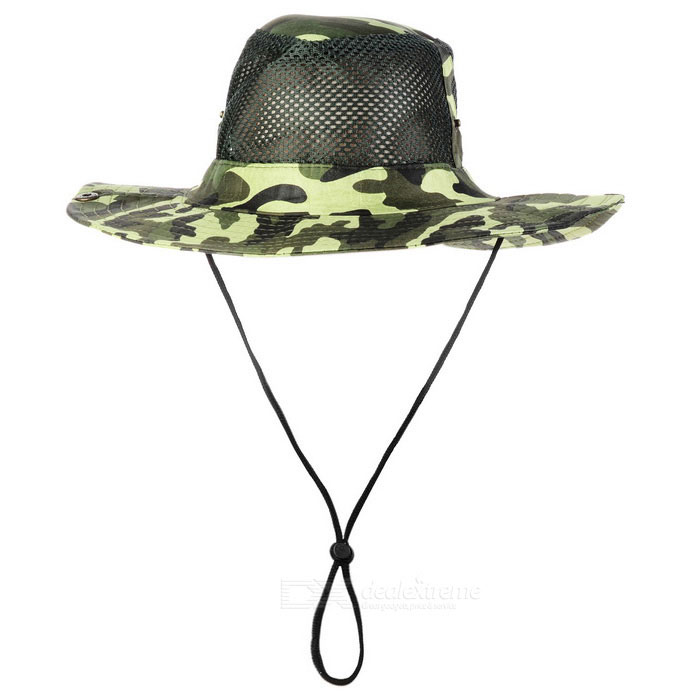 Buy Outdoor Sports Hiking Fishing Camouflage Wide Brim Boonie Hat - Army Green Camouflage with Litecoins with Free Shipping on Gipsybee.com
