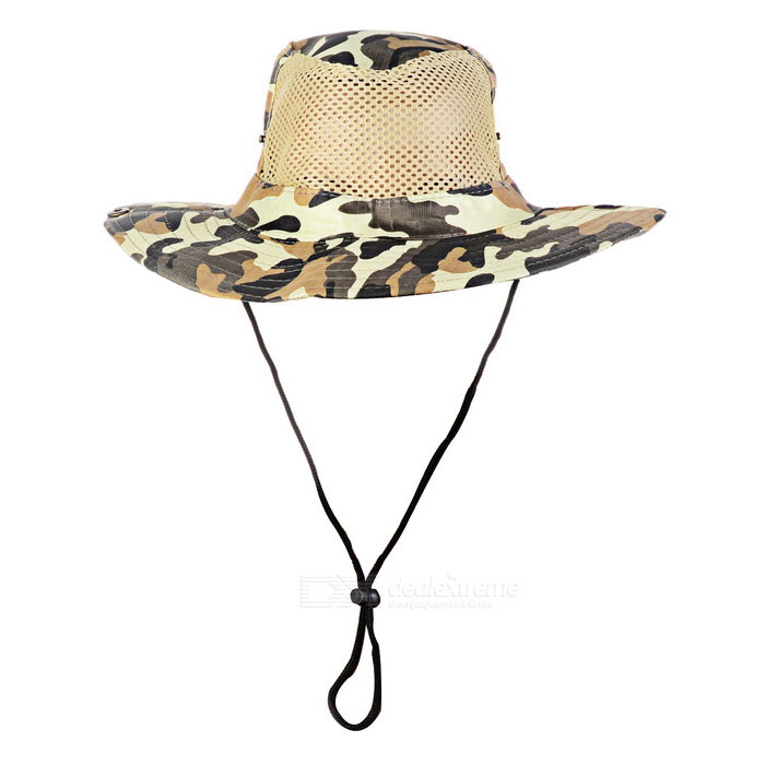 Outdoor Sports Hiking Fishing Camouflage Wide Brim Boonie Hat - Camouflage YellowForm  ColorCamouflage YellowSizeFree SizeQuantity1 DX.PCM.Model.AttributeModel.UnitMaterial50% polyester + 50% cottonShade Of ColorMulti-colorSeasonsFour SeasonsGenderUnisexHead Circumference58~60 DX.PCM.Model.AttributeModel.UnitBest UseMountaineering,Travel,Cycling,FishingSuitable forAdultsPacking List1 x Hat<br>