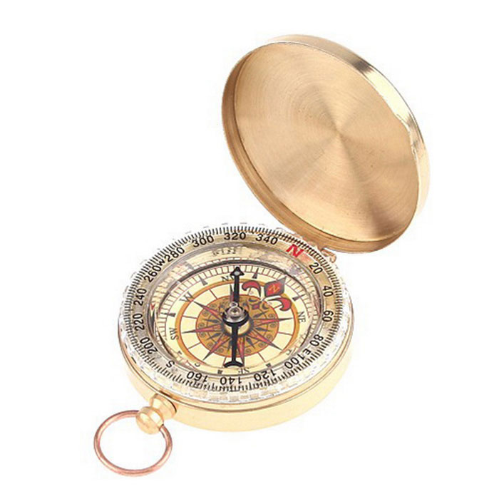 Classic Pocket Watch Style Bronzing Antique Camping Compass - Golden