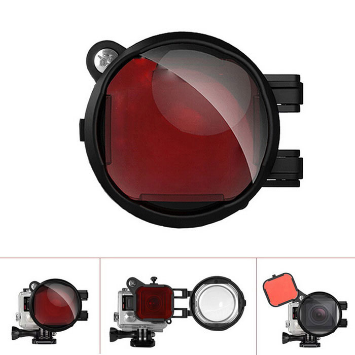 Fantaseal 2-in-1 Diving Red Correction Filter + 16X Close Up Macro Lens for GoPro Hero 4, 3+ - Black