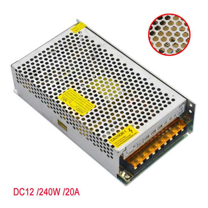AC 110V/ 220V to DC 12V 20A  Transformer Switching Power Supply
